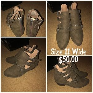 Size 11 wide brown heeled boots